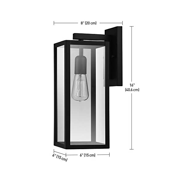 "Globe Electric 44176 Bowery 1-Light Outdoor Indoor Wall Sconce, Matte Black, Clear Glass Shade, 16"" - VERSATILE: with its classic black finish the Hurley wall sconce complements any d?cor making it the ideal piece for all your outdoor lighting needs CLEAR GLASS PANES: the clear glass panes of the Hurley Wall Sconce showcase your bulb of choice to create a beautiful light outside your home WEATHER RESISTANT: ideal for any outdoor environment - completely weather resistant and constructed of sturdy metal to withstand the elements - patio, outdoor-lights, outdoor-decor - 41RGXW1iwQL. SS570  -"