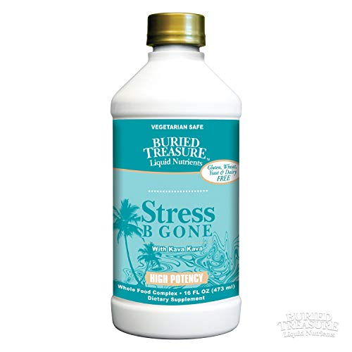 (Buried Treasure Stress B Gone with Kava Kava Root, B Vitamins and Vitamin C for Stress Relief and Immune Support Natural Relaxation Tropical Flavors 16 oz)