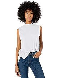 Amazon Brand - Goodthreads Women's Washed Jersey Cotton Sleeveless Mock-Neck T-Shirt