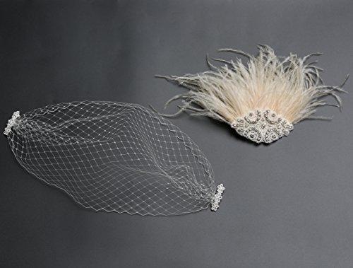 BABEYOND Bridal Wedding Fascinator Mesh Feather Fascinator Hair Clip Hair Fascinator Veil Crystal Wedding Veil (Pink) by BABEYOND (Image #3)