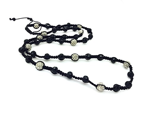 Mens Hip Hop Black and Silver Crystal Rosary Beads Shamballa Style Necklace