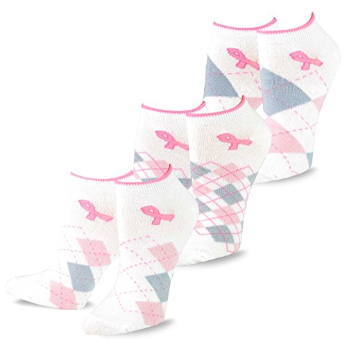 TeeHee Breast Cancer Awareness No Show Socks for Women 3-Pairs Pack (Argyle) ()