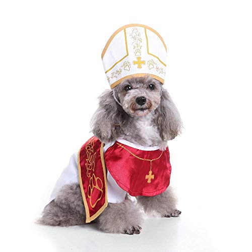 Coppthinktu Holy Pope Hound Dog Pet Costume Halloween Godfather Suit with Hat -