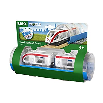 Brio World 33890 - Travel Train & Tunnel - 3 Piece Wooden Toy Train Set for Kids Age 3 and Up: Toys & Games