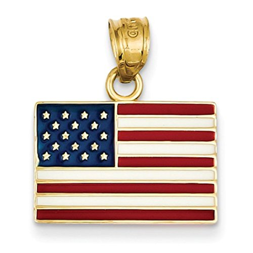 - 14k Yellow Gold Enameled United States of America US Flag Charm Pendant
