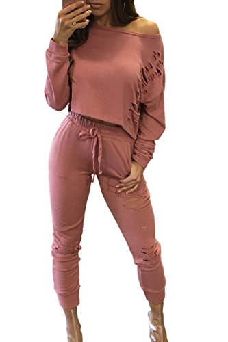 [Sexy Long Sleeve Ripped Sweats Crop Top Tight Jumpsuits Rompers for Women XL] (Pink Sweat Suits)
