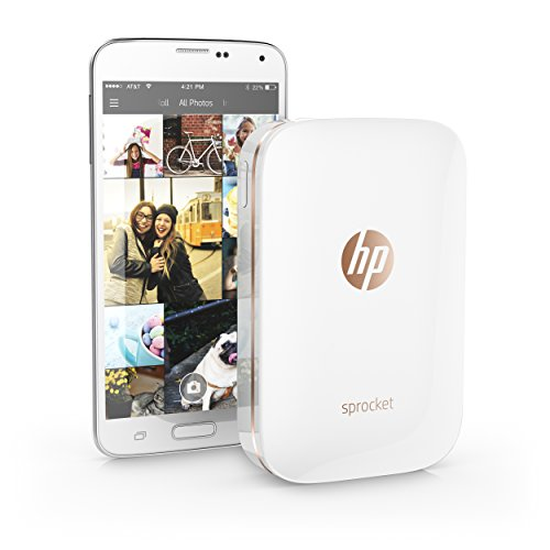 HP Sprocket Portable Photo Printer, X7N07A, Print Social Media Photos on 2x3 Sticky-Backed Paper - White