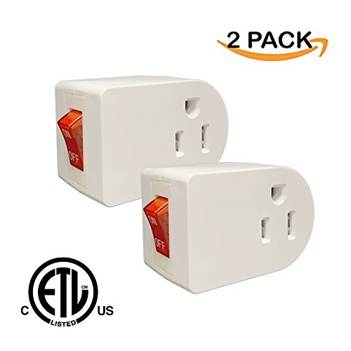 Price comparison product image Oviitech Grounded Outlet Wall Tap Adapter with Red Indicator On/Off Power Switch (2Pack)