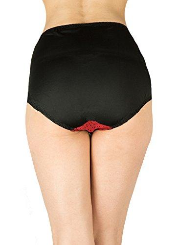 Retro diseño de lunares spandex de talle alto para mujer braga Black with Red with black dots
