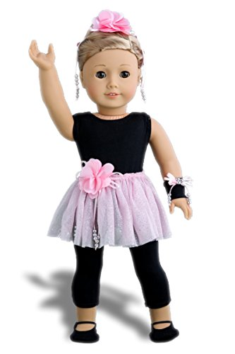 Show Time - 5 piece outfit - Black unitard, pink tutu skirt, ballet slippers, corsage, hair piece - 18 Inch Doll Clothes (doll not included) -