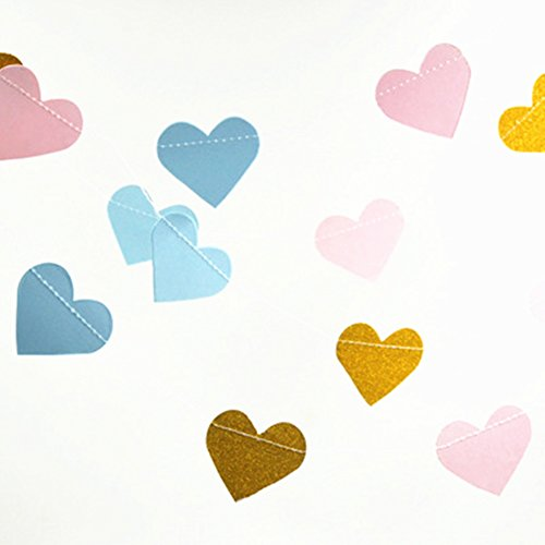 Glitter Gold Baby Blue Pink Paper Garland Heart Shape Hanging Streamer Happy Birthday Baby Boy Shower Wedding Party Decoration Table Centerpieces , 2.5 inch, 20 feet in - Shape Heart Pink