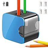 Qhui Electric Pencil Sharpeners, Automatic Dual Holes USB or Heavy Duty Battery Operated Pencil Sharpener and 6 Steel Blades for Artist, Student, Classroom, Office, Home