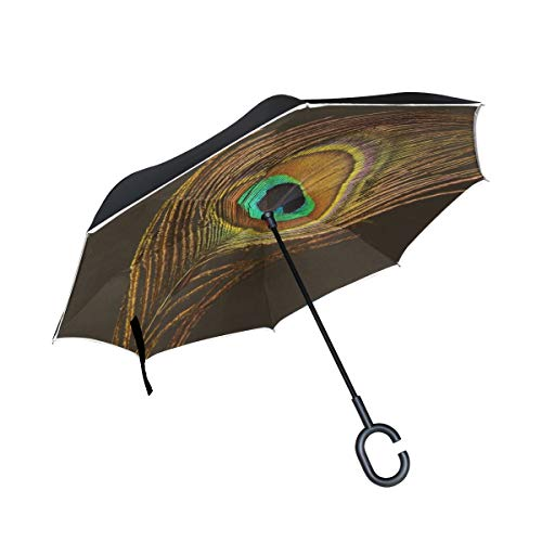 (Jnseff Double Layer Inverted Peacock Feather Feather Peacock Green Umbrellas Reverse Folding Umbrella Windproof Uv Protection Big Straight Umbrella for Car Rain Outdoor with C-Shaped Handle)