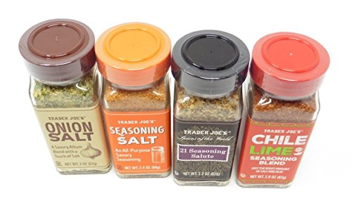 Cooking With a Touch of Savory Trader Joes Chile Lime, 21 Salute, Onion Salt and Seasoning Salt (4/pk) by Trader Joe's