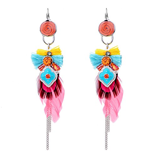 Elegant Womens Dangle Earrings Made with Australian Crystals with Cute Jewelry Box for Wedding Bridal
