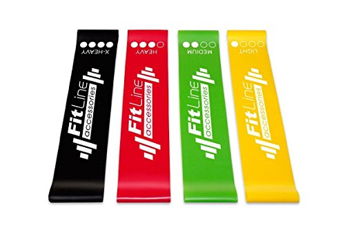 Set Of 4 Resistance Bands Loop Exercise Workout Cross Fit Fitness Yoga Carry Case by Unknown