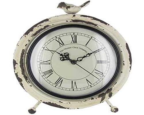 - Antique Roman Numerical Table Clock Quartz Movement with Bird Statue on Top, White Metal 10