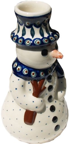 Polish Pottery Snowman - Polish Pottery 6½-inch Snowman Candle Holder (Peacock Leaves Theme) + Certificate of Authenticity