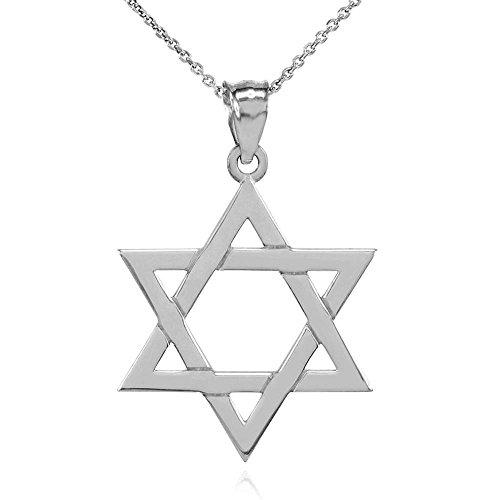 Collier Femme Pendentif Solide 14 Ct Or Blanc Juif Étoile De David (Médium) (Livré avec une 45cm Chaîne)
