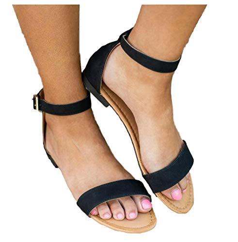 Women's Stylish Flat Open Toe Comfortable Single Strap Self-Adjustable Ankle Strap