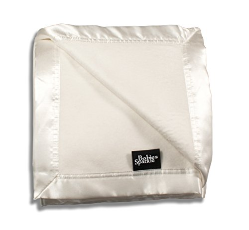 Babies Sparkle unisex baby blanket baby - 100% bamboo blanket soft plush with satin trim - helps prevent static electricity build up - breathable with moisture absorption and (Ivory Satin Trim)