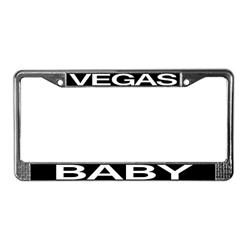 (CafePress Vegas Baby License Plate Frame Chrome License Plate Frame, License Tag Holder)