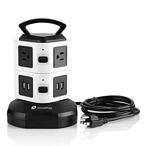 Power Strip Tower, Surge Protector Electric Charging Station 6 Outlet Plugs with 4 USB Slot 6ft Cord Wire Extension 2500W 13A 16AWG Universal Socket for PC Laptops Mobile Devices