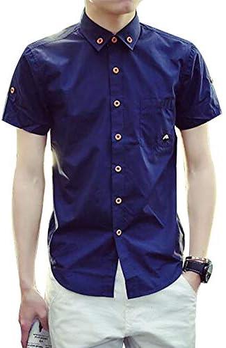 メンズ ボタンダウン シャツ 半袖 無地 トップス カジュアルシャツ サイドスリット ワイシャ 夏服