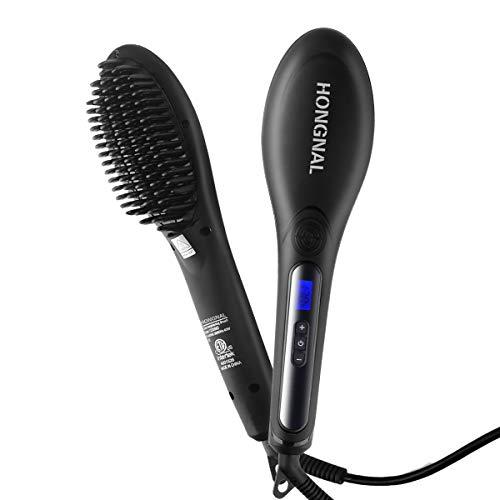 HONGNAL Hair Straightener Brush with Anion Ceramic Iron, Straightening Brush Comb Anti-scald Faster Heating, 110-240V Hot Combs Hair Straightener Auto Shut Off Digital Controls