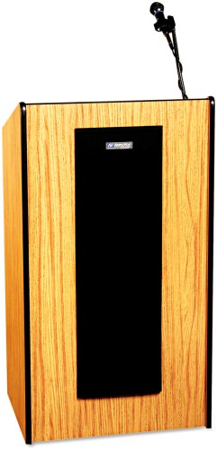 (Amplivox SW450MO Presidential Plus Wireless Sound Lectern, 25-1/2w x 20-1/2d x 46-1/2h, Med Oak)