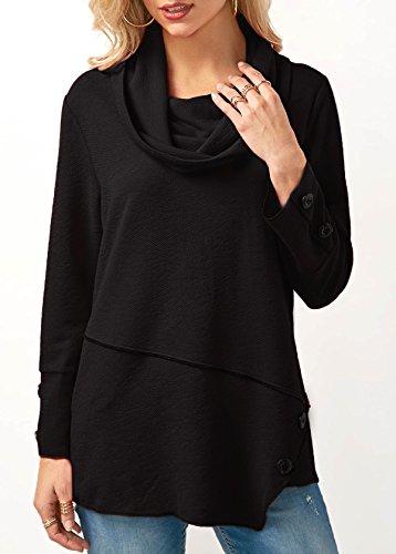 Pegado De XIU Botón Blusa Camiseta Sudadera black RONG wTTPqEnt