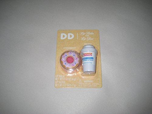 Dunkin Donut French Vanilla Lip Balm & Strawberry Lip Gloss Combo (Strawberry Balm Vanilla Lip)