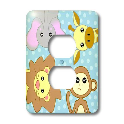 3dRose lsp_15434_6 Curious Baby Animals Lion Monkey Giraffe Elephant on Blue Background 2 Plug Outlet Cover