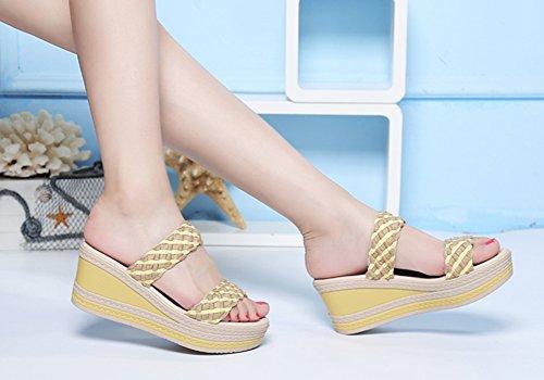 Usura Pantofole Gialle Spessore Esterna Tacchi Pendenza Donna Alla Alti Zcjb I Moda Sandali Signore Pantofole Fondo Con Estivi Di E fHCqx75