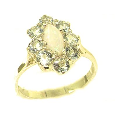 Ladies Contemporary Solid 9ct White Gold Natural Opal & Aquamarine Ring wNyQt