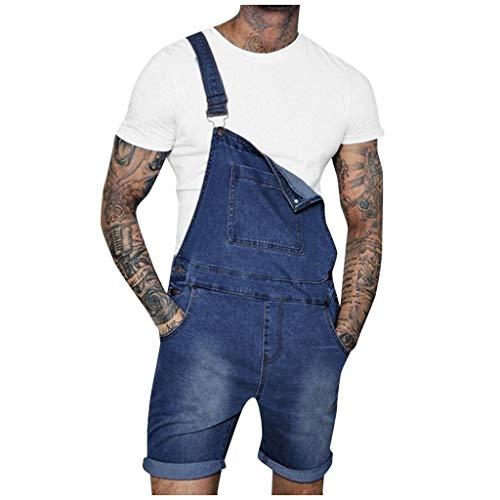 - TANLANG Mens Hole Pocket Button Washed Denim Comfy Stretch Suspenders Fashion Elastic Waist Basic Stretch Denim Jeans