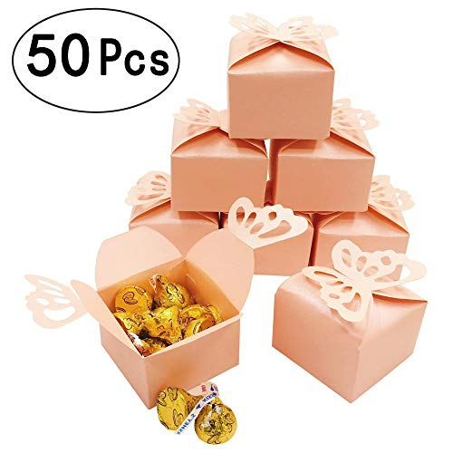 Pink Cube Candy Treat Boxes Set Butterfly Gift Box Bulk Wedding Party Favors Mother's Day Baby Shower Party Supplies 2x2x2 inch, 50pc