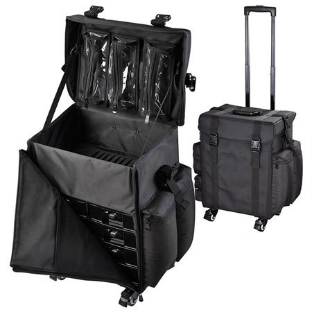 AMPERSAND SHOPS Deluxe Multi-Compartment Black Rolling Makeup Bag / Cosmetic Travel Case by AMPERSAND SHOPS