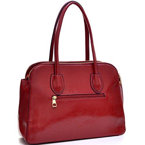 Dasein Triple Zip Emblem Shoulder Bag, Satchel, Tablet Bag, iPad Bag - Red