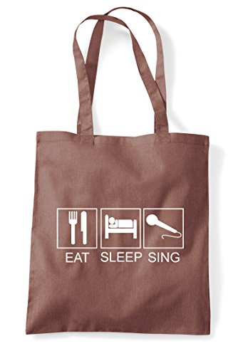 Microphone Funny Eat Tote Shopper Tiles Chestnut Bag Hobby Activity Sleep Sing qFZPR