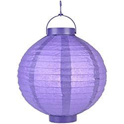 "Quasimoon PaperLanternStore.com 8"""" Budget Friendly Battery Operated LED Lantern - Purple (10 Pack)"