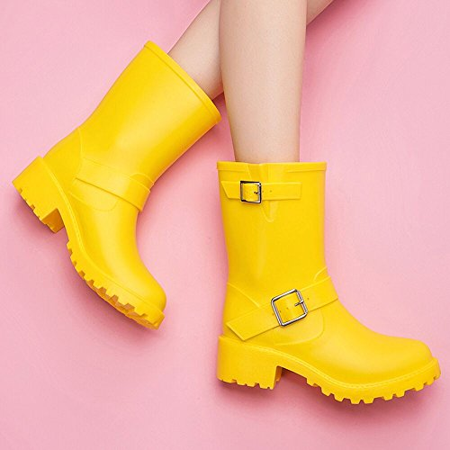 DKSUKO Womens Rain Boots with Elastic Adjust Waterproof -6 Colors-Motorcycle Boots for Girls JXC01 (7 B(M) US, Yellow) by DKSUKO (Image #6)