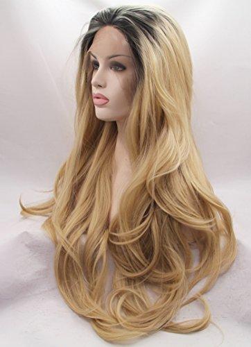 Ebingoo Synthetic Wavy Golden Blonde Ombre Wig Dark Roots Half Hand Tied Lace Front Wigs Heat Resistant Hair (Dark Blonde Wig)