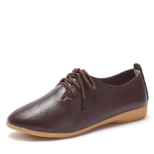 746 Oxford - Women Flexible Sneakers Soft Leather Upper Four Seasons Classical Lace Up Low Heel Lightweight Casual Flats Oxford Loafers
