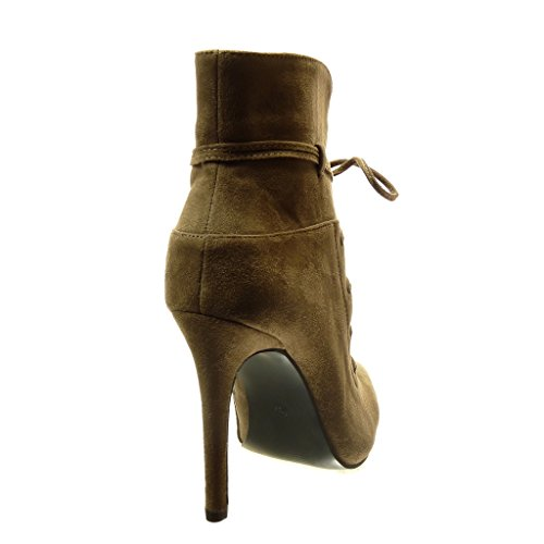 Heel Laces high 5 Booty Khaki Metallic Women's Stiletto Angkorly Boots 10 Fashion Sexy high Ankle Shoes cm n76P8Aq