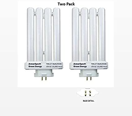 Two Pack Fml 27 Watt Daylight Fluorescent Bulb 6500k 82 Cri Full Spectrum Not For Verilux Brand Lamps Amazon Com