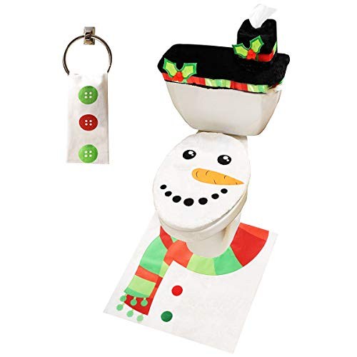 JOYIN 5 Pieces Christmas Snowman Theme Bathroom Decoration Set w/Toilet Seat Cover, Rugs, Tank Cover, Toilet Paper Box Cover and Santa Towel for Xmas Indoor Décor, Party Favors (Set Santa Bathroom)