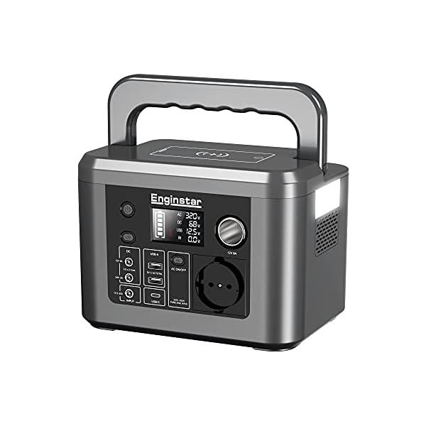 41RGeOKDFFS Enginstar Tragbare Powerstation 296Wh Solar Generatoren mit 230V Steckdose, Wireless Ladestation, USB/12V DC Ausgabe…