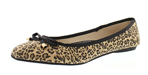 Delvina Womens Leopard Print Pointed Toe Ballerina Flats Bow,Stylish Slip On Flat Comfort Shoes for Women 7 (Ballerina Leopard)