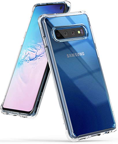 Ringke Fusion Designed for Galaxy S10 (6.1) Crystal Clear PC Back Case Anti-Cling Dot Matrix Technology Lightweight Transparent TPU Bumper Drop Protective Phone Cover for Galaxy S10 - Clear